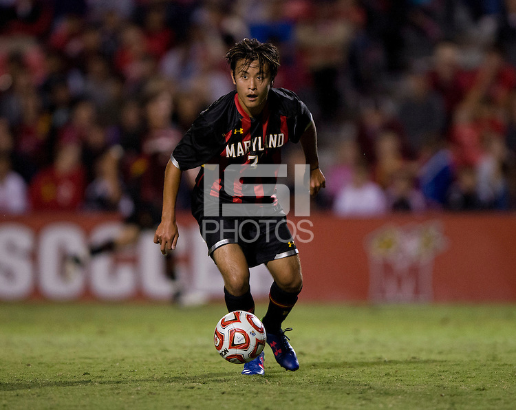 Tsubasa Endoh (31) of Maryland looks for a pass during the game at Ludwig Field on the campus of the University of Maryland in College Park, MD.  Maryland defeated Pittsburgh, 2-0.
