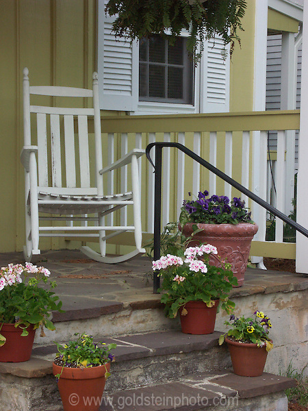 porch and rocking chair. Architectural details of homes and other buildings in Loudoun County area of Virginia.
