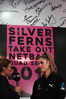 23.05.2019 Te Paea Selby-Rickit of the Silver Ferns speaks with Sky Sport presenter Belinda Colling during the Silver Ferns squad announcement ahead of the Netball World Cup 2019 at the ILT Stadium in Invercargill. Mandatory Photo Credit Copyright photo: Dianne Manson/Michael Bradley Photography