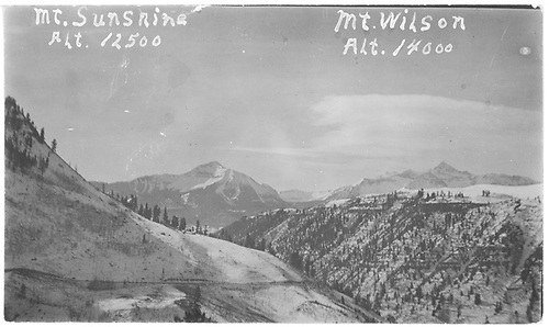 View of Mt. Wilson and Mt. Sunshine from somewhere in the Ophir area.<br /> RGS  near Ophir, CO