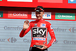 Race leader Christopher Froome (GBR) Team Sky retains the Red Jersey on the podium at the end of Stage 15 of the 2017 La Vuelta, running 129.4km from Alcal&aacute; la Real to Sierra Nevada. Alto Hoya de la Mora. Monachil, Spain. 3rd September 2017.<br /> Picture: Unipublic/&copy;photogomezsport | Cyclefile<br /> <br /> <br /> All photos usage must carry mandatory copyright credit (&copy; Cyclefile | Unipublic/&copy;photogomezsport)