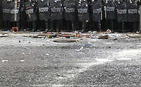 Pictured: Debris and other items that have been thrown to riot police  Friday 12 February 2016<br /> Re: Violent clashes between farmers and riot police outside the Ministry of Agricultural Development in Athens, Greece. The farmers travelled from Crete to protest against pension and welfrae reforms proposed by the Greek government,