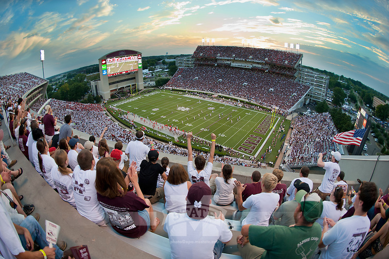 Sunset at Davis Wade Stadium during football game vs UGA. (photo by Russ Houston / © Mississippi State University)