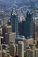 aerial photograph of One and Two Liberty Place high rise office towers, Philadelphia, PA