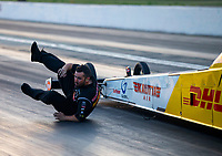 May 4, 2018; Commerce, GA, USA; Crew member for NHRA top fuel driver Richie Crampton falls during qualifying for the Southern Nationals at Atlanta Dragway. Mandatory Credit: Mark J. Rebilas-USA TODAY Sports