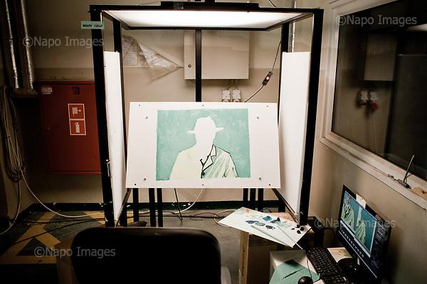 GDANSK, 30/05/2016:<br /> A cel being half painted, at the production venue of &quot;Loving Vincent,&quot; an animated film being made in Poland about Vincent Van Gogh that's using oil-painted cels. Each finished cel is photographed on the spot and transferred to computer's memory.<br /> (Photo by Piotr Malecki / Napo Images)<br /> <br />  <br /> ####<br /> GDANSK, 30/05/2016:<br /> Produkcja filmu &quot;Twoj Vincent&quot; - pierwszego w historii filmu animowanego skladajacego sie w calosci z klatek osobno malowanych na plotnie przez dziesiatki zatrudnionych w tym celu malarzy z calego swiata.<br /> (Fot: Piotr Malecki dla NYT / Napo Images /  Napo Images) <br /> <br /> <br /> ### Zakaz publikacji w negatywnym kontekscie. Cena minimalna: 100 PLN ### Zakaz publikacji w Gazecie Polskiej ###
