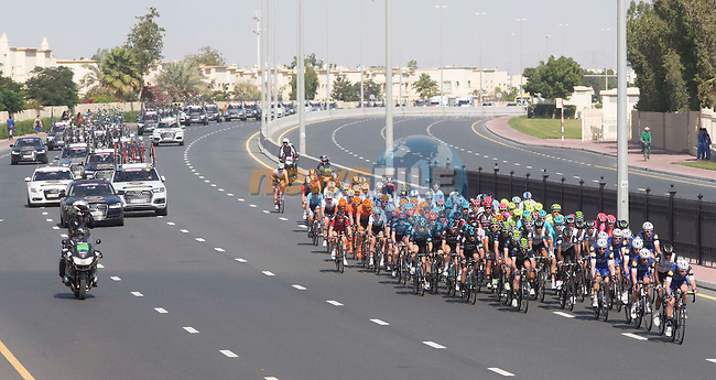 The peloton in action during Stage 2, the Nakheel Stage, of the 2016 Dubai Tour starting at the Dubai International Marine Club and running 188km to Palm Jumeirah Atlantis, Dubai, United Arab Emirates. 4th February 2016.<br /> Picture: ANSA/Claudio Peri | Newsfile<br /> <br /> <br /> All photos usage must carry mandatory copyright credit (&copy; Newsfile | Eoin Clarke)