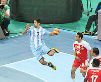 18.01.2013 Barcelona, Spain. IHF men's world championship, prelimanary round. Picture show Federico Pizarro    in action during game between Arnetina vs Tunisia at Palau St Jordi