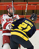Chris Huxley (Harvard - 28), Francois Ouimet (Merrimack - 21) -  - The visiting Merrimack College Warriors defeated the Harvard University Crimson 3-1 (EN) at Bright Hockey Center on Tuesday, November 30, 2010.