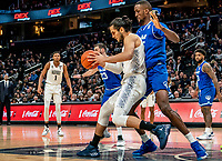 WASHINGTON, DC - FEBRUARY 05: Romaro Gill #35 of Seton Hall defends against Omer Yurtseven #44 of Georgetown during a game between Seton Hall and Georgetown at Capital One Arena on February 05, 2020 in Washington, DC.