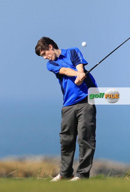 Brandon Norris (Carrick-On-Suir) during Round 1 of the 54 hole Stroke Play on April 10th  2015 for the 2015 Munster Youths' Open Championship, Tralee Golf Club, Tralee, Co.Kerry Ireland.<br /> Picture: Thos Caffrey / Golffile