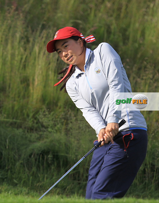 Mika Liu on the 11th during the Saturday Afternoon Fourballs of the 2016 Curtis Cup at Dun Laoghaire Golf Club on Saturday 11th June 2016.<br /> Picture:  Golffile | Thos Caffrey