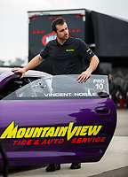 Feb 10, 2018; Pomona, CA, USA; NHRA pro stock driver Vincent Nobile during qualifying for the Winternationals at Auto Club Raceway at Pomona. Mandatory Credit: Mark J. Rebilas-USA TODAY Sports