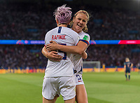 PARIS,  - JUNE 28: Megan Rapinoe #15 celebrates her goal with teammate Lindsey Horan #9 during a game between France and USWNT at Parc des Princes on June 28, 2019 in Paris, France.