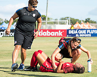 Bradenton, FL - Sunday, June 12, 2018: USA staff, Samantha Meza during a U-17 Women's Championship Finals match between USA and Mexico at IMG Academy.  USA defeated Mexico 3-2 to win the championship.