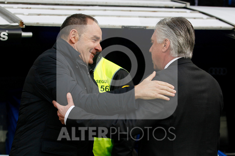 Real Madrid´s coach Carlo Ancelotti (R) and Deportivo de la Courna´s coach Victor Fernandez during La Liga match at Santiago Bernabeu stadium in Madrid, Spain. February 14, 2015. (ALTERPHOTOS/Victor Blanco)