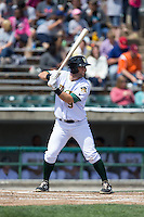 Joe Sever (9) of the Lynchburg Hillcats at bat against the Frederick Keys at Calvin Falwell Field at Lynchburg City Stadium on May 14, 2015 in Lynchburg, Virginia.  The Hillcats defeated the Keys 6-3.  (Brian Westerholt/Four Seam Images)