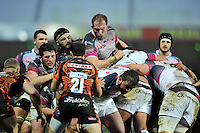 Alun Wyn Jones of the Ospreys in action at a maul. European Rugby Champions Cup match, between Exeter Chiefs and the Ospreys on January 24, 2016 at Sandy Park in Exeter, England. Photo by: Patrick Khachfe / JMP
