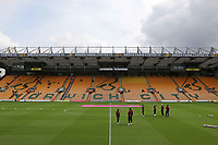 Aston Villa players on the pitch pre game.<br /> during Norwich City vs Aston Villa, Premier League Football at Carrow Road on 5th October 2019