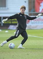 Blackpool's Chris Maxwell during the pre-match warm-up <br /> <br /> Photographer Kevin Barnes/CameraSport<br /> <br /> The EFL Sky Bet League One - Fleetwood Town v Blackpool - Saturday 7th March 2020 - Highbury Stadium - Fleetwood<br /> <br /> World Copyright © 2020 CameraSport. All rights reserved. 43 Linden Ave. Countesthorpe. Leicester. England. LE8 5PG - Tel: +44 (0) 116 277 4147 - admin@camerasport.com - www.camerasport.com