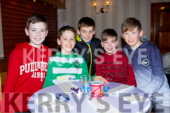 Ruarir Clancy, Leon Bowler, Jack Kelliher, Josh Bowler and Cian Fordes at the Gaelscoil Faitleann bingo in the Gleneagle Hotel on Sunday