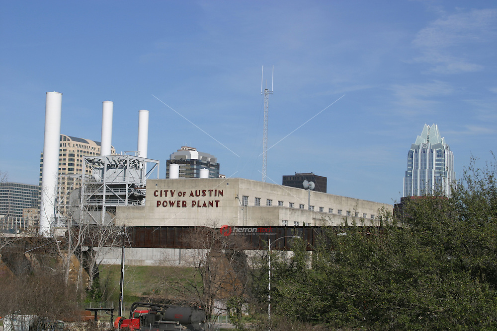 It's a sunny day at the historic City of Austin Power Plant on Town Lake in Austin.