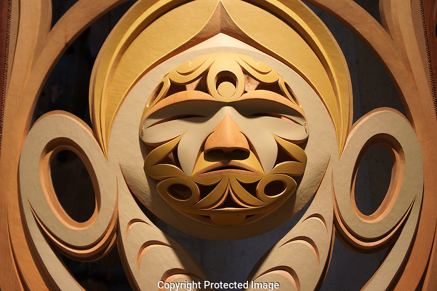 Detail of To Share History (2006) sculpture by John Marston, Coast Salish, Museum of Anthropology (MOA), Vancouver, BC, Canada