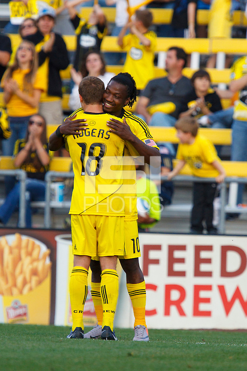 24 OCTOBER 2010:  Columbus Crew midfielder/forward Robbie Rogers (18) congratulates Columbus Crew forward Andres Mendoza (10) on his goal during MLS soccer game against the Philadelphia Union at Crew Stadium in Columbus, Ohio on August 28, 2010.