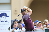 Padraig Harrington (IRL) tees off the 10th tee during Sunday's storm delayed Final Round 3 of the Andalucia Valderrama Masters 2018 hosted by the Sergio Foundation, held at Real Golf de Valderrama, Sotogrande, San Roque, Spain. 21st October 2018.<br /> Picture: Eoin Clarke | Golffile<br /> <br /> <br /> All photos usage must carry mandatory copyright credit (&copy; Golffile | Eoin Clarke)