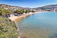 The beach of Batsi in Andros, Greece
