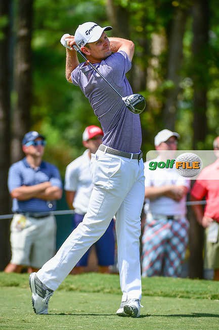Justin Rose (GBR) watches his tee shot on 5 during Thursday's round 1 of the PGA Championship at the Quail Hollow Club in Charlotte, North Carolina. 8/10/2017.<br /> Picture: Golffile | Ken Murray<br /> <br /> <br /> All photo usage must carry mandatory copyright credit (&copy; Golffile | Ken Murray)