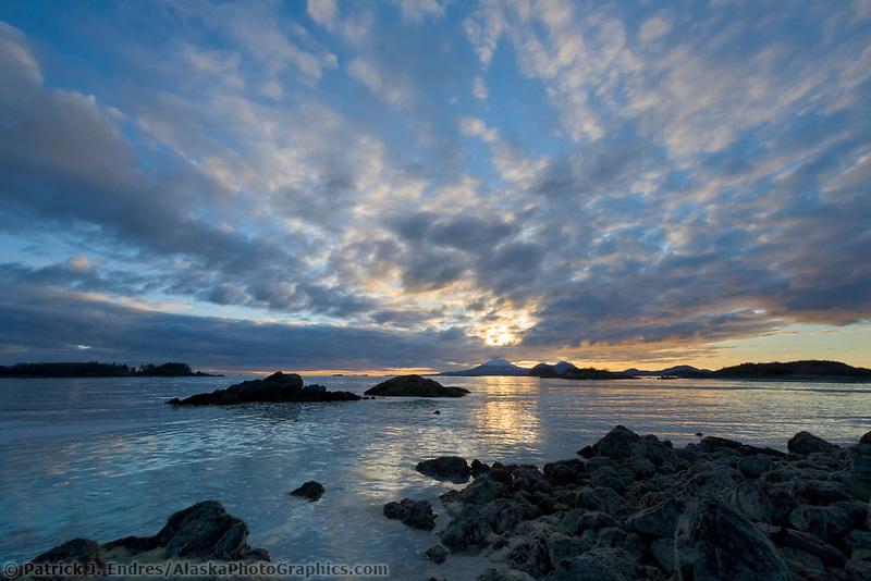 Mount Edegcumbe at sunset, Sitka sound, southeast, Alaska.
