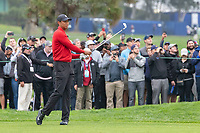 26th January 2020, Torrey Pines, La Jolla, San Diego, CA USA; Tiger Woods hits an iron on the first hole during the final round of the Farmers Insurance Open at Torrey Pines Golf Club