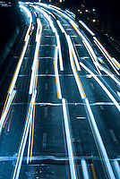 AVAILABLE FROM PLAINPICTURE FOR COMMERCIAL AND EDITORIAL LICENSING.  Please go to www.plainpicture.com and search for image # p5690012.<br /> <br /> Lights Trails from Car Headlights on Highway at Night, Brooklyn-Queens Expressway, Brooklyn, New York City, New York State, USA