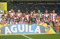 BARRANQUILLA- COLOMBIA -25-03-2017: Los jugadores de Atletico Junior, posan para una foto, durante partido aplazado de la fecha 2 entre Atletico Junior y Jaguares F.C. por la Liga Aguila I-2017, jugado en el estadio Metropolitano Roberto Melendez de la ciudad de Barranquilla. / The players of Atletico Junior, pose for a photo, during a posponed match of the date 2, between Atletico Junior and Jaguares F.C. for the Liga Aguila I-2017 at the Metropolitano Roberto Melendez Stadium in Barranquilla city, Photo: VizzorImage  / Alfonso Cervantes / Cont.