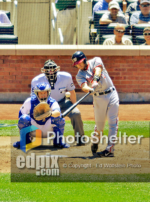 25 July 2012: Washington Nationals infielder Stephen Lombardozzi in action against the New York Mets at Citi Field in Flushing, NY. The Nationals defeated the Mets 5-2 to sweep their 3-game series. Mandatory Credit: Ed Wolfstein Photo