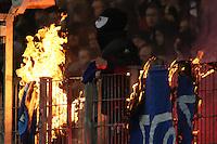 Frankfurter Fans verbrennen Darmstaedter Transparente - Eintracht Frankfurt vs. SV Darmstadt 98, Commerzbank Arena