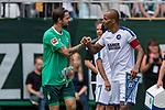 07.07.2019, Parkstadion, Zell am Ziller, AUT, TL Werder Bremen Zell am Ziller / Zillertal Tag 03 - FSP Blitzturnier<br /> <br /> im Bild<br /> Martin Harnik (Werder Bremen #09) Kapitän / mit Kapitänsbinde klatscht ab mit David Pisot (Karlsruher SC #05), <br /> <br /> im dritten Spiel des Blitzturniers SV Werder Bremen vs Karlsruher SC, <br /> <br /> Foto © nordphoto / Ewert