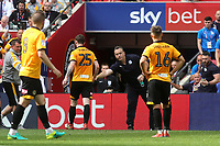 Tranmere Manager, Micky Mellon, offers his sympathy to Newport's Mark O'Brien after being sent off during Newport County vs Tranmere Rovers, Sky Bet EFL League 2 Play-Off Final Football at Wembley Stadium on 25th May 2019