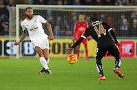 Kyle Bartley of Swansea (L) during the Barclays Premier League match between Swansea City and Leicester City at the Liberty Stadium, Swansea on December 05 2015