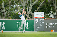Victor Perez (FRA) on the 9th tee during the 3rd round of the AfrAsia Bank Mauritius Open, Four Seasons Golf Club Mauritius at Anahita, Beau Champ, Mauritius. 01/12/2018<br /> Picture: Golffile | Mark Sampson<br /> <br /> <br /> All photo usage must carry mandatory copyright credit (© Golffile | Mark Sampson)