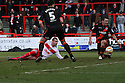 Marcus Haber of Stevenage shoots while grounded. Stevenage v Sheffield United - npower League 1 -  Lamex Stadium, Stevenage - 16th March, 2013. © Kevin Coleman 2013.. . . .