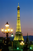 France, Paris. the Eiffel Tower illuminated at night..NO PROPERTY RELEAS