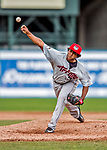 25 July 2017: Tri-City ValleyCats pitcher Diogenes Almengo on the mound against the Vermont Lake Monsters at Centennial Field in Burlington, Vermont. The Lake Monsters defeated the ValleyCats 11-3 in NY Penn League action. Mandatory Credit: Ed Wolfstein Photo *** RAW (NEF) Image File Available ***