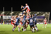29th September 2017, AJ Bell Stadium, Salford, England; Aviva Premiership Rugby, Sale Sharks versus Gloucester; Sale Sharks' Bryn Evans wins a line out