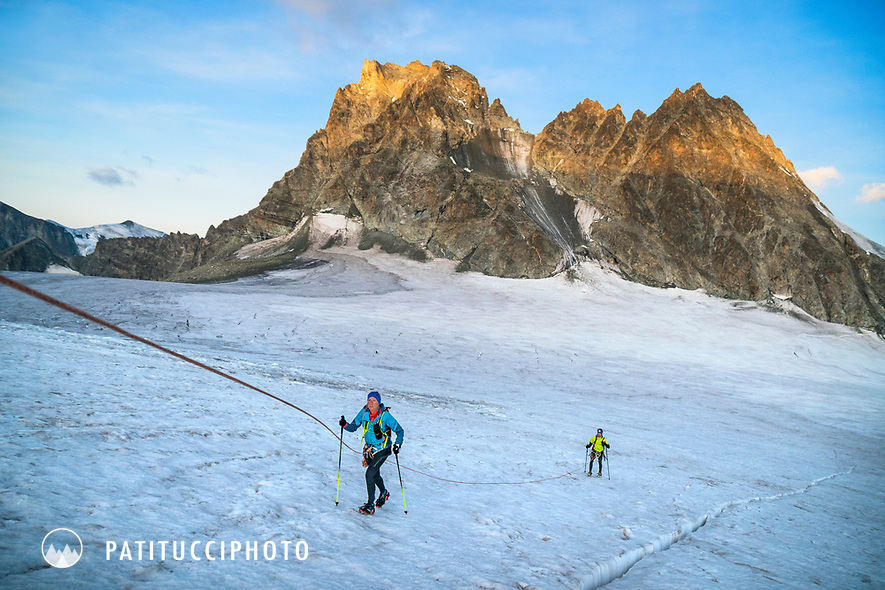 The Chamonix to Zermatt Glacier Haute Route. In late August 2017, we ran the tour in mountain running gear, running shoes, and all the necessary glacier travel and crevasse rescue gear. Heading up the Glacier du Mont Minè on the way to Zermatt on the final day.