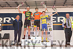 On the podium after todays stage of the Rás Mumhan cycling in Killorglin on Easter Monday. In first place, JB Murphy, 2nd went to Sean Hahessy and 3rd place to Alexander Konijn.