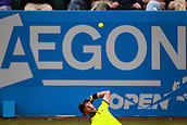 June 12th 2017,  Nottingham, England; WTA Aegon Nottingham Open Tennis Tournament day 3;  Liam Broady of the UK serves to Ukranian no8 seed Illya Marchenko at the Aegon Open in Nottingham