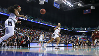 GREENSBORO, NC - MARCH 07: Kayla Jones #25 of North Carolina State University inbounds the ball to Kai Crutchfield #3 during a game between Boston College and NC State at Greensboro Coliseum on March 07, 2020 in Greensboro, North Carolina.