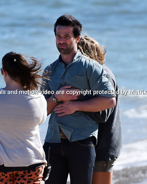 1st October, 2014 SYDNEY AUSTRALIA<br /> EXCLUSIVE <br /> Pictured, Jessica Grace Smith, Charlie Clausen, cast members of Home and Away doing scenes at Careel Bay, Palm Beach, NSW. <br /> <br /> *No internet without clearance*.MUST CALL PRIOR TO USE +61 2 9211-1088. Matrix Media Group.Note: All editorial images subject to the following: For editorial use only. Additional clearance required for commercial, wireless, internet or promotional use.Images may not be altered or modified. Matrix Media Group makes no representations or warranties regarding names, trademarks or logos appearing in the images.
